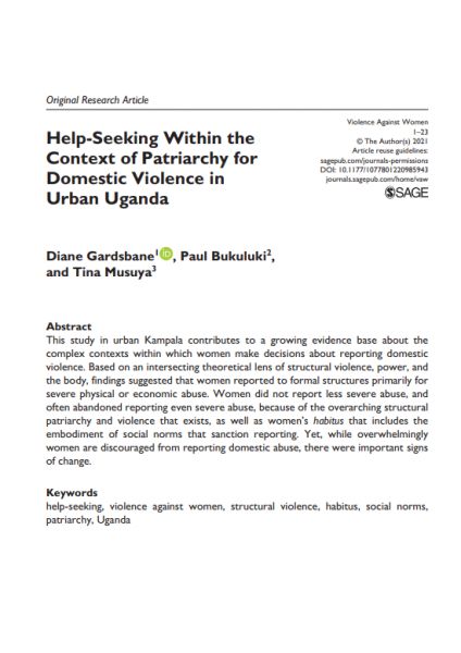 Help-Seeking Within the Context of Patriarchy for Domestic Violence in Urban Uganda