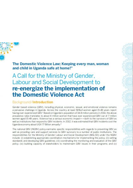 A Call for the Ministry of Gender, Labour & Social Development