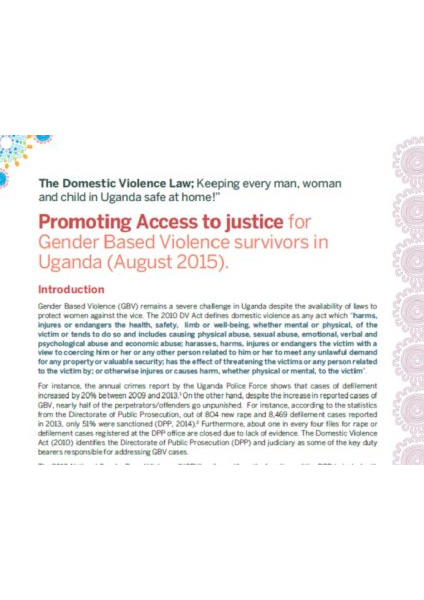 Access to Justice for Gender Based Violence (2015)