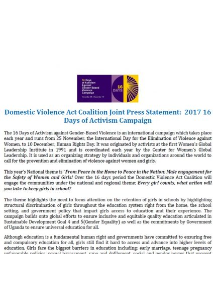 Domestic Violence Act Coalition Joint Press Statement: 2017 16 Days of Activism Campaign