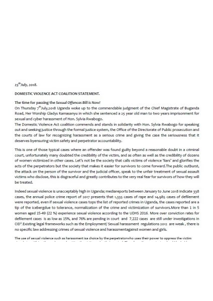 DVA Coalition Statement On Sexual Violence and Access to Justice FNL