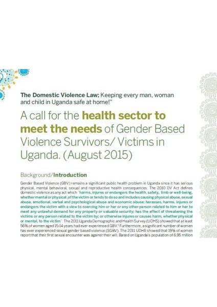 A Call for the Health Sector to Meet the needs of GBV Survivors (2015)
