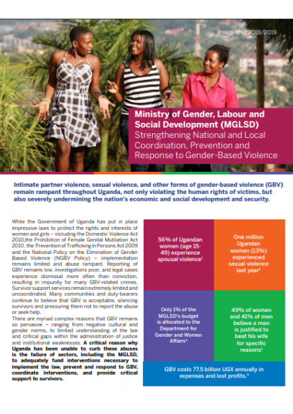 Ministry of Gender, Labor and Social Development Policy Brief 2018