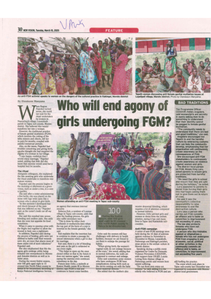 News paper article FGM March 10th