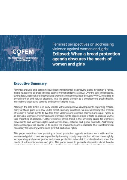 Paper 5 Eclipsed When a broad protection agenda obscures the needs of women and girls Sept 2017