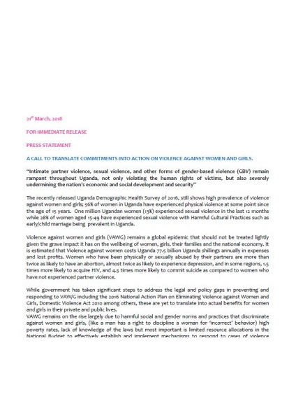 Press Statement-A call to End Violence Against Women March 20 2018