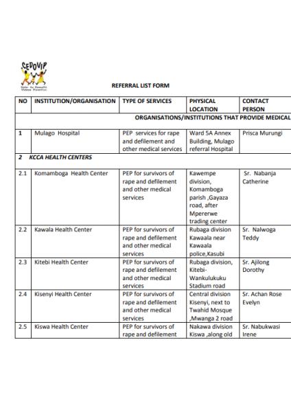 Referral list 2