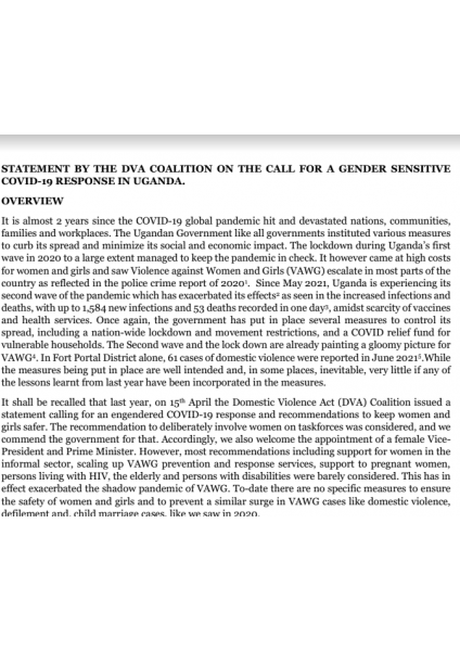 STATEMENT BY THE DVA COALITION ON THE CALL FOR A GENDER SENSITIVE COVID-19 RESPONSE IN UGANDA