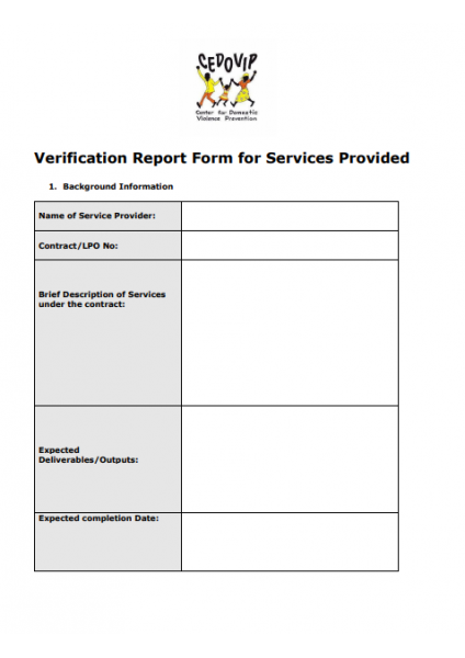 Verification Report Form for Services Provided