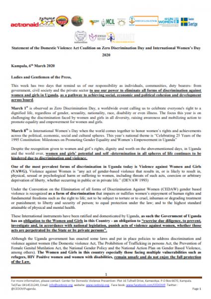Zero discrimination Day Press statement