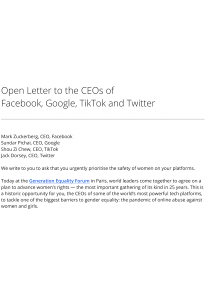 Open Letter to the CEOs of Facebook, Google, TikTok and Twitter