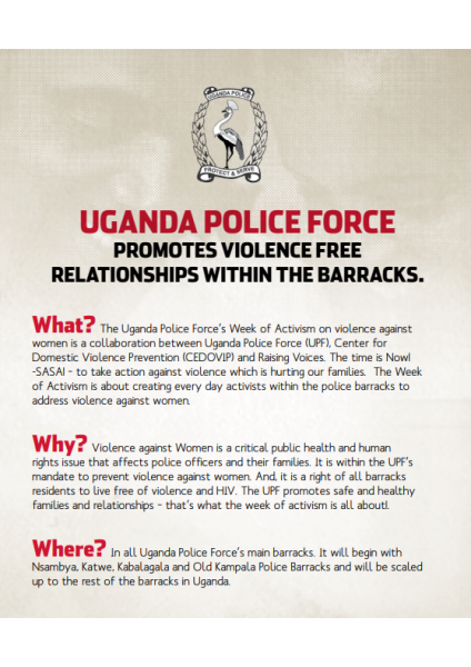 Uganda Police Force Promotes Violence Free Relationships within the Barracks